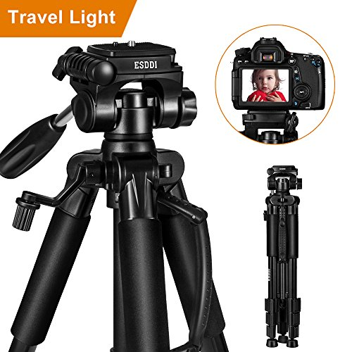 "ESDDI Camera Tripod 55"" Professional DSLR Travel Light Aluminum Tripod for Canon, Nikon, Sony, Samsung, Olympus, Panasonic & Pentax + eCost Microfiber with Carry Bag and Universal Clip for Phone"