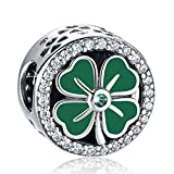 ANGELFLY Green Four Leaf Clover Charm 925 Sterling Silver Heart Petals Lucky Clover Good Luck Flower Charms for Charm Bracelets