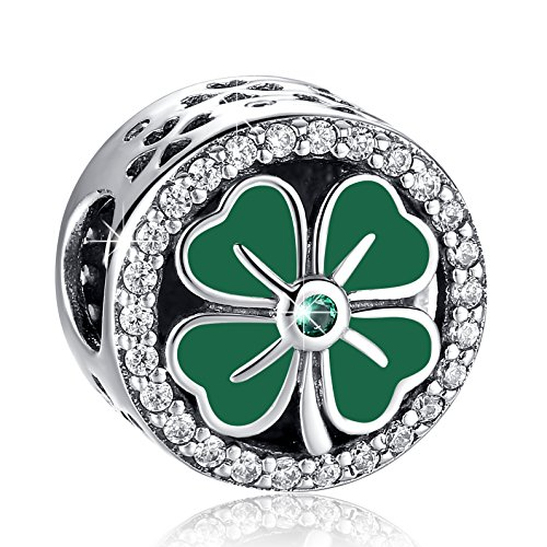 ANGELFLY Green Four Leaf Clover Charm 925 Sterling Silver Heart Petals Lucky Clover Good Luck Flower Charms for Charm (Good Luck Heart Charm)