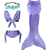 Mermaid Tails for Swimming Girls Swimsuits Support Monofin Bikini Set for3-12Y