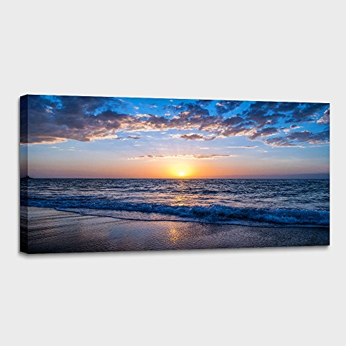 hyidecor art Wall Art Moon Sea blue Ocean Landscape Paintings Bedroom Canvas Art Print wall art for living room Paintings for Wall Decor and Home Decor (20 x 40inch x 1pcs) (Poster Canvas Painting)