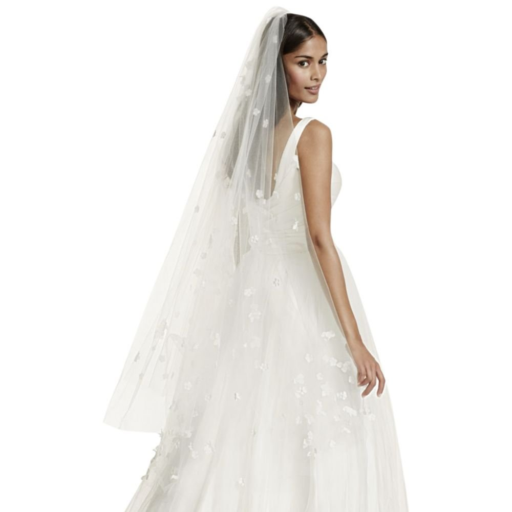Two Tier Veil with Scattered 3D Floral Detail Style WPD17127, Ivory by David's Bridal