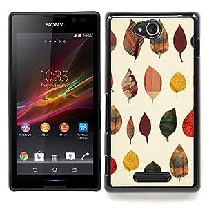 For Sony Xperia C Case , Otoño Arte Naturaleza Modelo amarillo - Diseño Patrón Teléfono Caso Cubierta Case Bumper Duro Protección Case Cover Funda