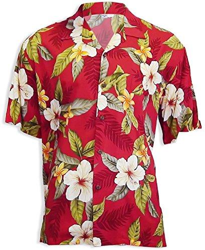- Two Palms Mens Leilani Rayon Shirt Red XL