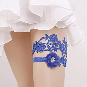 Fengbingl Acc Jarretiere De Mariage Femmes Fleurs Bleues