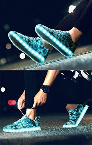 Honeystore Unisex LED Schuhe mit USB Sportschuhe 7 Farben Leuchten Sneakers für Weihnachten Halloween Geschenk Jungen Mädchen LED Paar Turnschuhe Minze