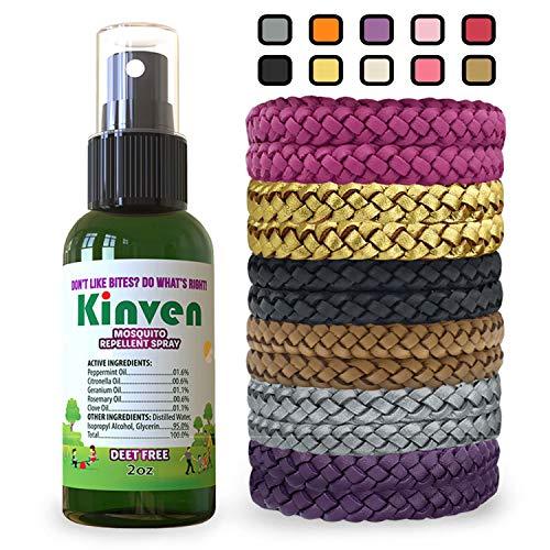 Kinven Anti Mosquito Repellent Bundle - 2oz Bottle + 12 Bracelet, Multi-Color, Repel Mosquitoes with Bracelet & Spray, Waterproof, Natural, DEET-Free, Indoor & Outdoor Protection for Adults & Kids