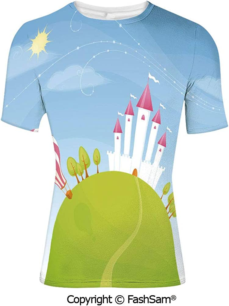 T Shirts Fantasy Castle on Top of The Cliff with Lightning Supernatural Place Fi