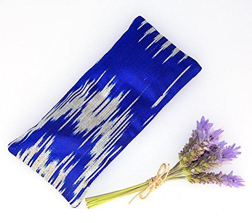 Relaxing Lavender Eye Pillow Uzbek Ikat Silk Blue Indigo Removable Cover Gift Idea Yoga Retreat Sleep Essential Aromatherapy Silk Mask - Silk Ikat Pillow Cover