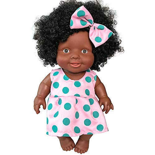 Wenini 10 Inch Baby Movable Joint African Doll Toy Black Doll Toy for Kids Suit for 3-6 Years Old Kids ()