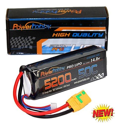 Powerhobby 4s 14.8V 5200mah 50c Lipo Baterry w XT90 Plug Soft Case 4-Cell FITS : Arrma Kraton Nero Tyhpon Senton Tailon Outcast FAZON - Box Kraton