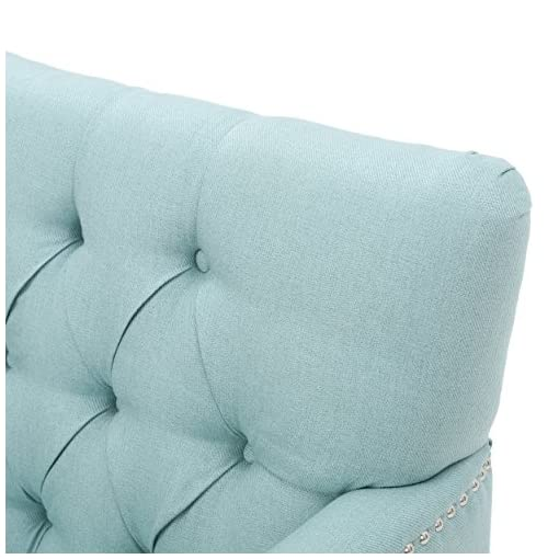 Farmhouse Accent Chairs Tufted Club Chair, Decorative Accent Chair with Studded Details – Light Blue farmhouse accent chairs
