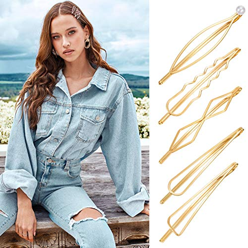 Gold Geometric Hair Clip women Girls Minimalist Decorative Pearl Bobby Pins Dainty Triangle Marquise Rhombus Infinity Metal Styling Hair Accessories Barrettes for Kids Toddlers Bridal Thick Hair 5 pc