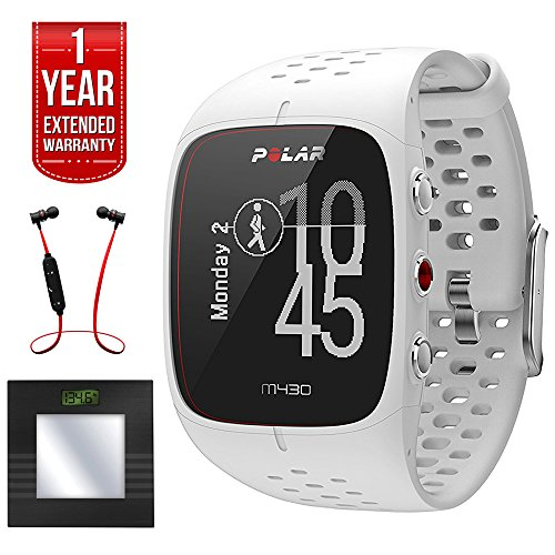 Polar M430 GPS Running Watch, White (90064405) + Bally Total Fitness Bluetooth Digital Body Mass Bathroom Scale (Black) + Fusion Bluetooth Headphones Black/Red + 1 Year Extended Warranty by Polar