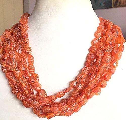 Semi Precious Carnelian Carved Leaf Orange Necklace Jewelery,16 inches G.wt 158.83
