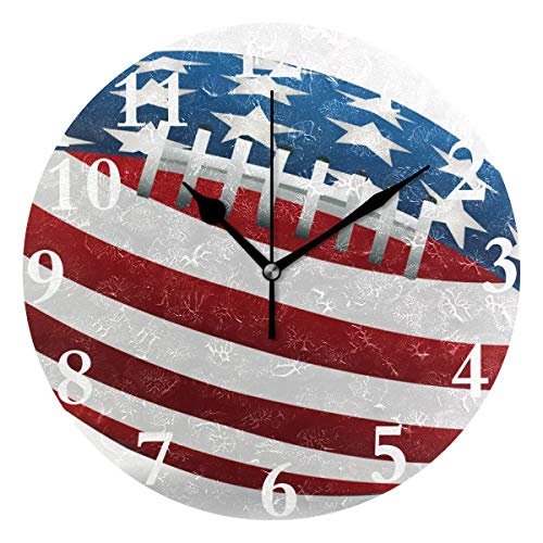HangWang Wall Clock Denver Broncos Silent Non Ticking Decorative Round Digital Clocks for Home/Office/School Clock