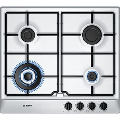 Bosch Brushed Steel Gas Hob, 60cm, Silver Large Appliances at amazon