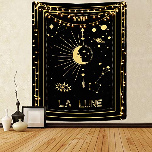 Sevenstars Tarot Cards Tapestry La Lune Tapestry Moon and Star Tapestry Mysterious Gold Planet Tapestry for Room