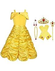 Vicloon Prinsessenkostuum meisjes, ijskoningin Elsa jurk blauw/geel met diadeem, toverstaf, handschoenen en andere accessoires, voor Kerstmis, carnaval, party, Halloween