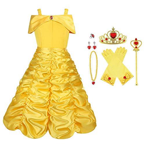 Vicloon Disfraz de Princesa Belle Vestido y Accesorios para Ninas, Corona Anillo Sceptre Collar Pendientes Guantes, para Fiesta Cosplay,Navidad,Fiesta de cumpleanos,Halloween
