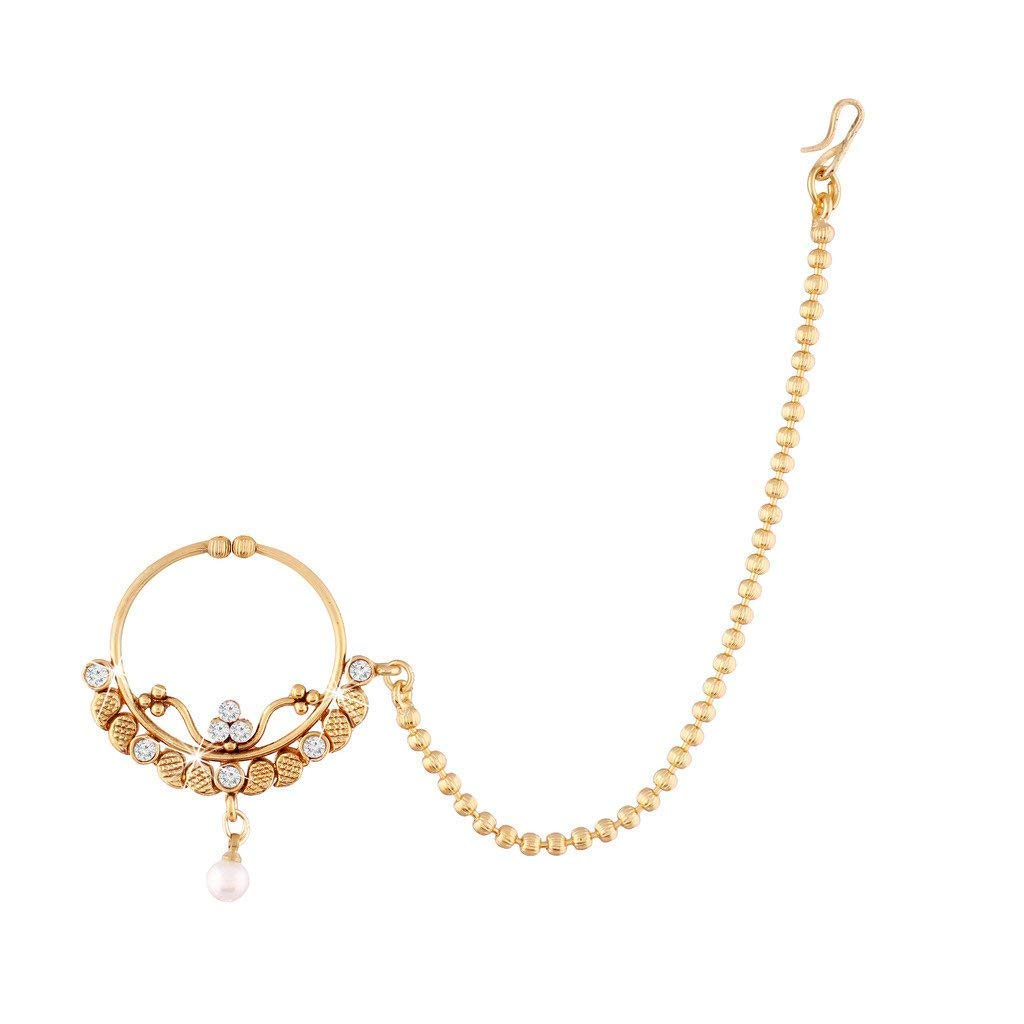 Aheli Indian Ethnic Wedding AD Nath Nose Ring Hoop with Beaded Chain Traditional Party Jewelry for Women