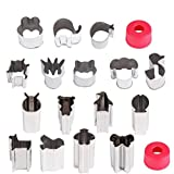 Hapdoo Vegetable Animal Cutter Shapes Set (16 Piece) – Mini Cookie Cutters, Vegetable Animal Shape Cutters for Kids