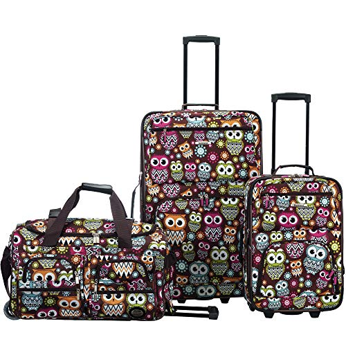 Rockland 3 Pc Luggage Set, Owl ()