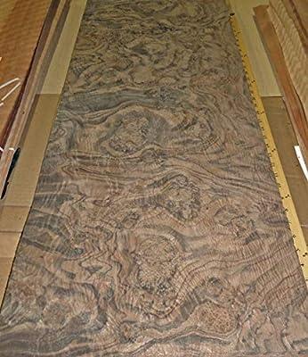 """Walnut Burl wood veneer 17"""" x 40"""" raw veneer no back 1/42"""" thickness AAA grade"""