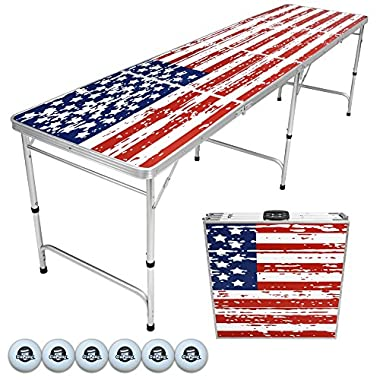 GoPong 8-Feet Beer Pong/Tailgate Table (American Flag Edition)