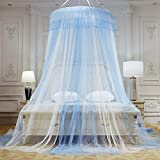 ASDFGH Lace Dome Bed Canopy Netting Mosquito net, Princess Bed Canopy Netting Curtains Kids Mosquito Netting for Double Bed Free Installation-Blue 120x200cm(47x79inch)