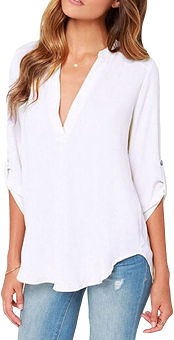 roswear Womens Casual V Neck Cuffed Sleeves Solid Chiffon Blouse Top