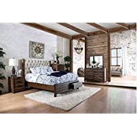 Hutchinson II Transitional Style Rustic Natural Tone Finish King Size 6-Piece Bedroom Set