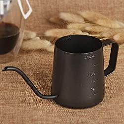 304 Stainless Steel Coffee Pot - Tick Mark - Mini Hanging Ear Coffee Handmade Small Mouth Pot - Suitable For Hiking/Family/Camping (350ml / 12.3 Ounces)
