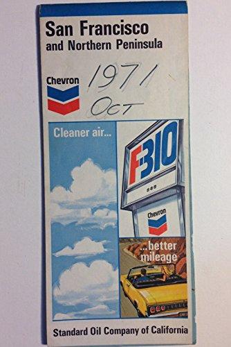 Chevron Road Map (Vintage Original 1971 San Francisco & Northern Peninsula California Road Map Chevron Standard Oil)