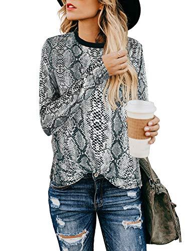BMJL Women's Casual Cute Shirts Leopard Print Tops Basic Short Sleeve Soft Blouse (Medium, Long Sleeve &Snake Print)
