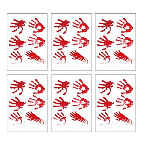 Yevison 6pcs/set Halloween Handprint Wall Sticker Waterproof Wall