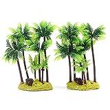 M2cbridge Set of 2 Plastic Coco Tree Plants Palm Tree for Fish Tank Aquarium Decor