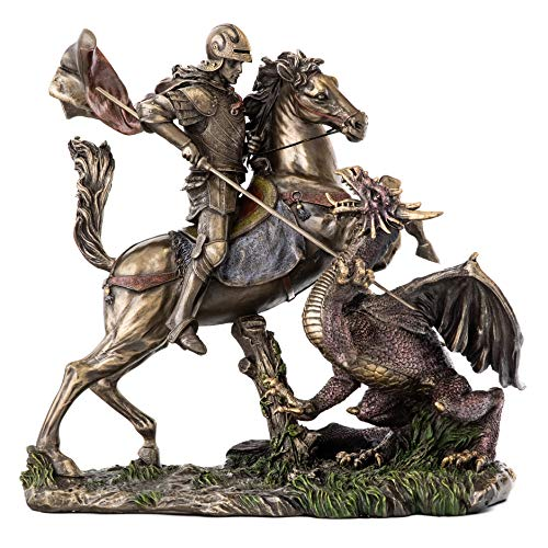 Top Collection St. George Slaying The Dragon Statue-Ancient Greek Roman Saint Sculpture in Cold Cast Bronze-10.5-Inch Medieval Figurine