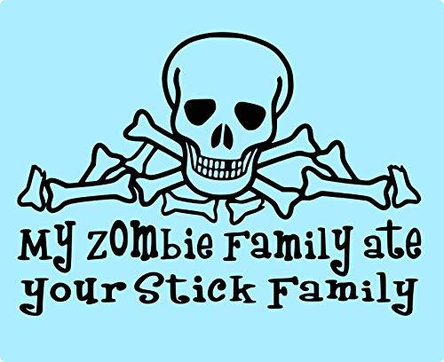 Vinyl Decal Car Sticker Laptop Phone My Zombie Family Ate Your Stick Family Skull Bones Window Decal Locker Decal Sticker