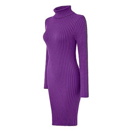 160d44129b4c Harpa Women s A-Line Dress Women Ladies Turtleneck Striped Long Sleeve Slim  Fit Ribbed Knit