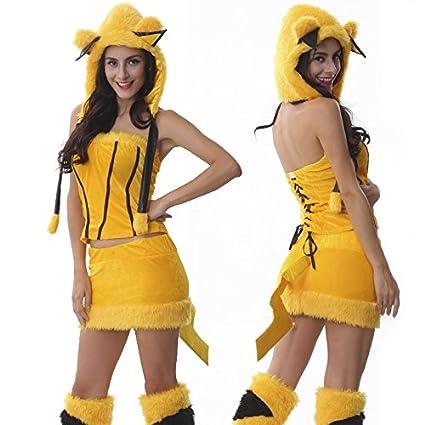Partido loco GO! GO! Pikachu de estilo a349 traje de cosplay ...