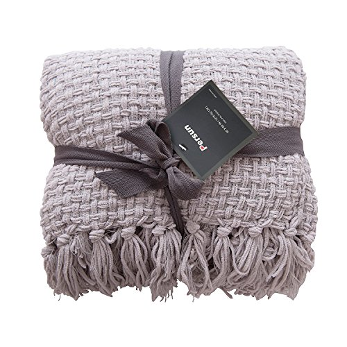 Microfiber Classic Sofa Couch (PERSUN Lightweight Throw Blanket Light Grey Soft Plush Microfiber Sofa Couch Knit Blankets with Fringe)