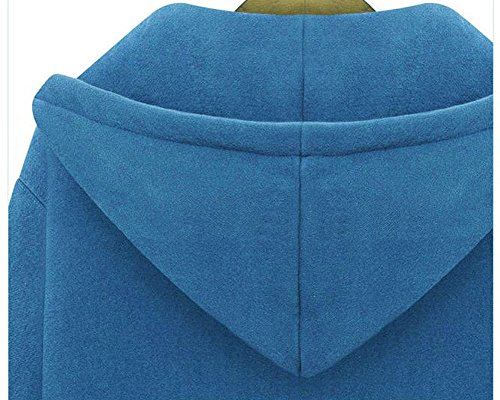 Pullover Cappuccio Giacca Donna Blu Lunghe Lunga Quge Felpa Sweatshirt Con Maniche Cappotto Zip XHYd1x