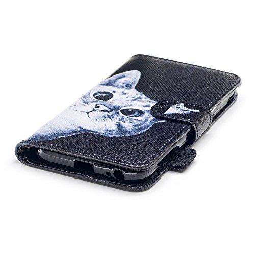 Funda Samsung Galaxy J3 (2016), Ecoway Pintado Cuero de la PU Leather Cubierta, Función de Soporte Billetera con Tapa para Tarjetas Soporte para Teléfono para Samsung Galaxy J3 (2016)- Cabeza de calav Gatos curiosos