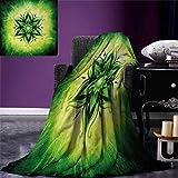 smallbeefly Lotus Digital Printing Blanket Psychedelic Floral Mandala Ethnic Meditation Mystic Sacred Digital Image Summer Quilt Comforter 80''x60'' Emerald Lime Green