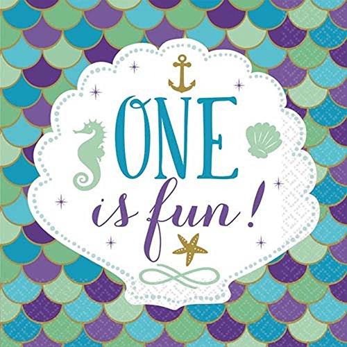 Mermaid 'One is Fun' 1st Birthday Lunch Napkins ()