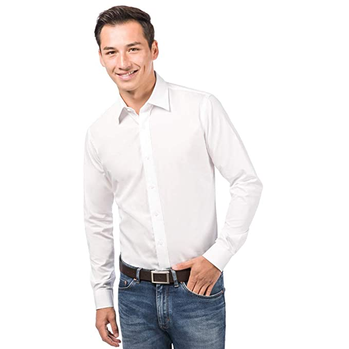 ALLBOW Camisa Blanca para Hombre Formal Regular Fit con Parches en los Codos 635f68a695a