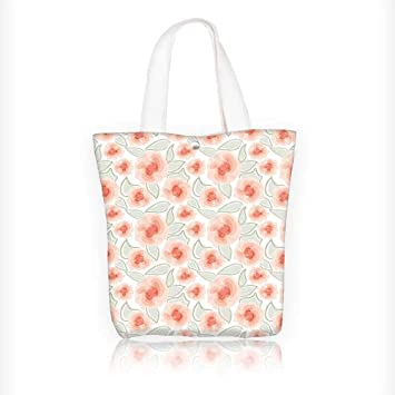 Stylish Canvas Zippered Tote Bag Rose Flower Petals Blossom Florets Buds in  Misty Tones Purity Artwork d3e04ed34c364