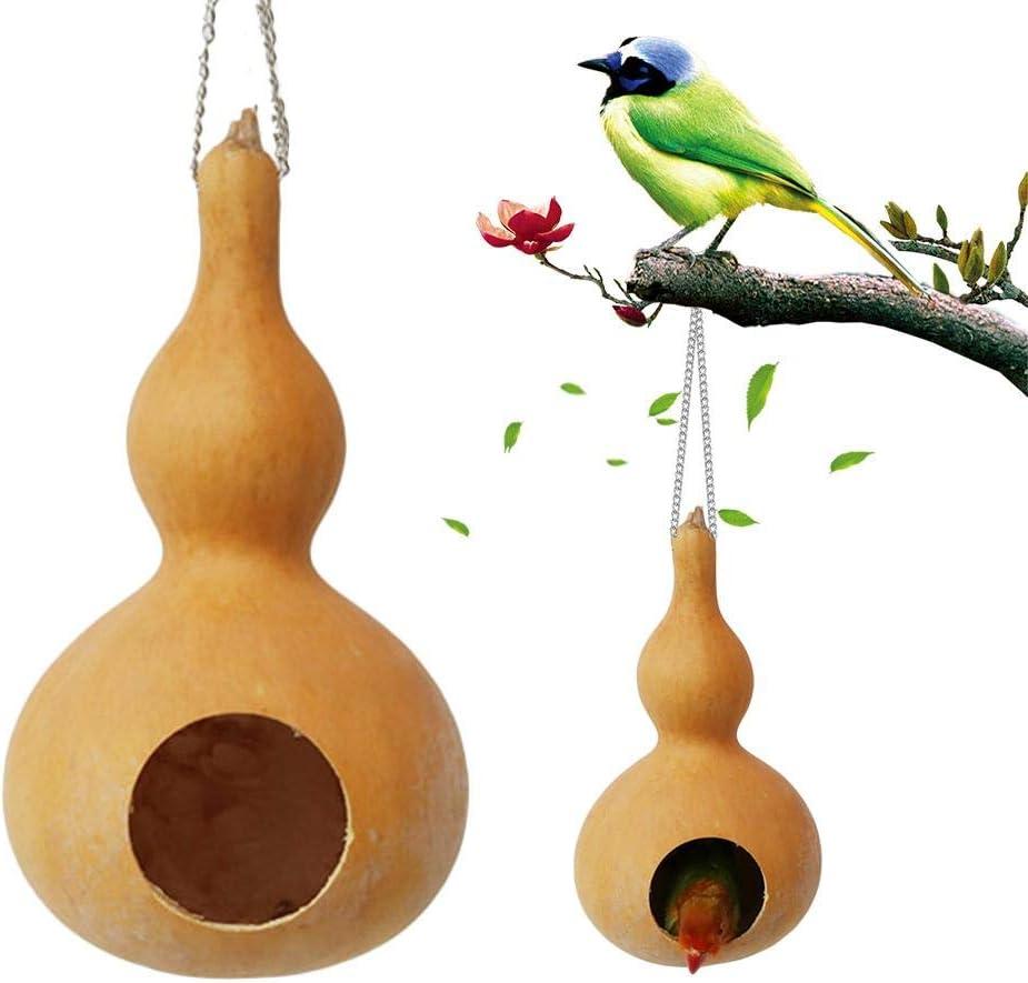 perfecti Comedero para Pájaros Jardín Casa De Pájaros Nido De Cría Decoración De Calabaza Natural Pequeño Nido De Mascota Hamaca para Loro, Hámster, Hamaca