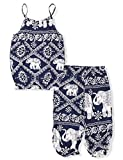 #4: Oklady Little Girls' Clothes Summer Straps Shorts Set, Elephant Sleeveless Tops+Harem Pants 2Pcs Outfits for Toddler Girls